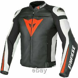 Dainese Super Speed-r Leather Jacket Motorbike Black Red White