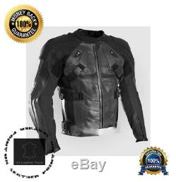 Deadpool Black Motorbike Cowhide Leather Armoured Jacket