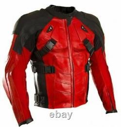 Deadpool Motorbike Jacket Cowhide Leather Trouser Biker's Clothing Pants Suit