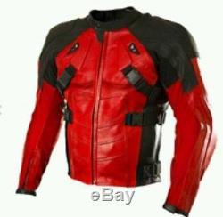 Deadpool-Red Motorbike/Motorcycle Leather Jacket -100% Genuine Cowhide Leather