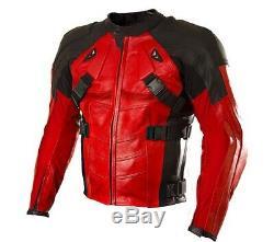 Deadpool Style Ryan Renolds Red Motorbike Cowhide Leather Armoured Jacket