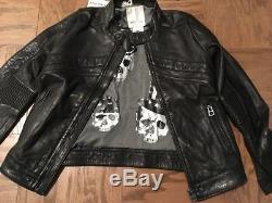 Diesel Kids Boys Black Leather Motorcycle Jacket Size 8 Italy Biker Skulls