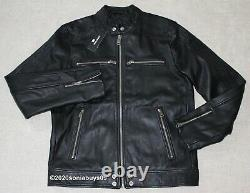 Diesel Men's L-Boy Leather Biker Jacket, Very Black, Size L