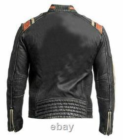 Distressed Retro 3 Men's Cafe Racer Biker Vintage Retro Moto Real Leather Jacket