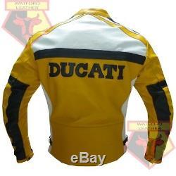Ducati 3039 Yellow Motorbike Motorcycle Bikers Cowhide Leather Armoured Jacket