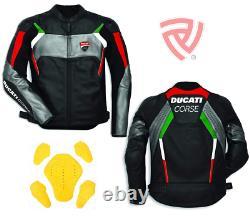 Ducati Corse Street Racing Leather Jacket Ce Armors Leather Biker Jacket