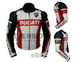 Ducati Motorbike Jacket Motorcycle Real Leather Jackest Team Racing CE Armoured