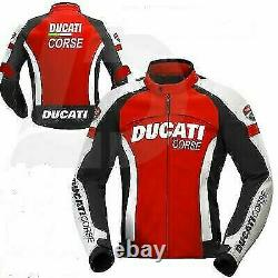 Ducati Motorbike/Motorcycle Leather Jacket In Cowhide/ 5 Protections/ All Sizes
