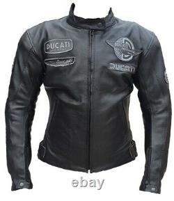 Ducati Motorbike Original Cowhide Leather Jacket With 5 CE Protections/All Sizes