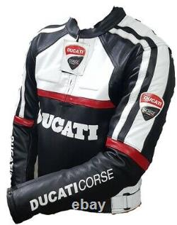 Ducati Motorbike Original Cowhide Leather Jacket With CE Approved Protections