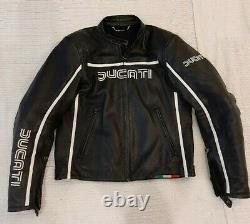 Ducati motorcycle motorbike cowhide leather jacket by Dainese Size 52 UK42 M