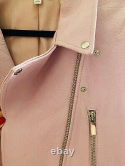 ELIZABETH and JAMES pink leather oversized moto jacket sz S