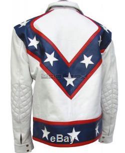 Evel Knievel Star Spangled Motorbike Motorcycle White Leather Race Jacket