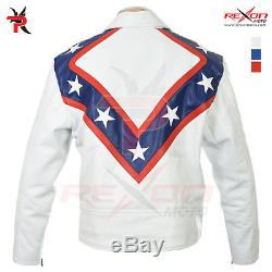 Evel Knievel Tribute White 100% Soft Leather Jacket
