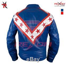 Evel Knievel Wembley Blue Motorcycle Leather Jacket