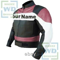 FEMALE 2020 PINK Motorbike Cow Leather Jacket Motorcycle Biker Coat for Her
