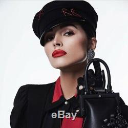 FREE SHIPPING! New Ruslan Baginskiy Black Wool Leather Baker Boy Cap S