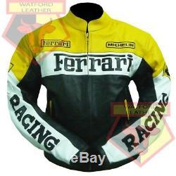 Ferrari 0301 Yellow Motorbike Motorcycle Bikers Cowhide Leather Armoured Jacket