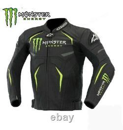 GB Moto Monster Energy Leather Biker Jacket Motorbike Leather Jacket CE Approved