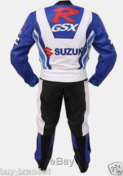 GSXR Motorcycle Racing Cowhide Leather Suit Motorbike Leather Jacket Trouser
