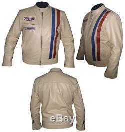 GULF STEVE McQUEEN Motorcycle/Motorbike Leather Jacket Racing COWHIDE-MotoGp