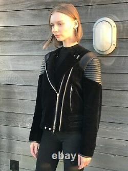 Givenchy Black Velvet Leather Biker Jacket Small / Uk 6-8 / It 40