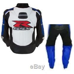Gsxr Suzuki Racing Biker Leather Suit Moto Gp Motorcycle Leather Jacket Trouser