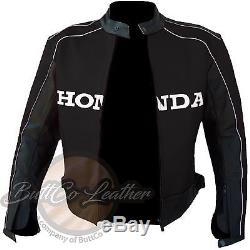 HONDA 5523 Riding BLACK REAL BIKE Leathers Jacket Motorcycle PROTECTIVE GEAR