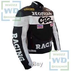 HONDA CBR Black Cowhide Leather Coat Motorbike Motorcycle Armoured Biker Jacket