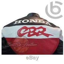 HONDA CBR Original Real Leather GEAR Motorcycle Racing Motorbike Biker Jacket