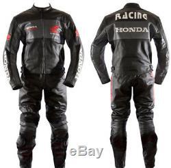 HONDA-RACING-BLACK MOTORBIKE LEATHER SUIT, JACKET/TROUSER RACING MOTORCYCLE(Rep)