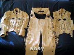Handmade Mans American Style 3 Pice Cow Boy Western Jacket Trouser Vest Cowhide