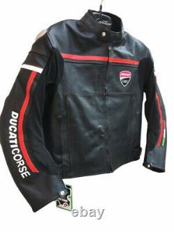 Handmade Men's DUCATI CORSE Biker Genuine Leather Jacket