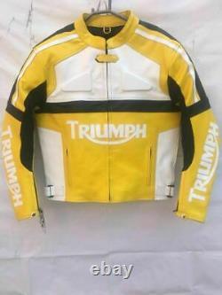 Handmade Men's Yellow, White And Black Leather TRIUMPH Biker Jacket