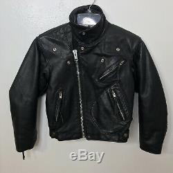 Harley Davidson Leather Jacket Moto Boys Kids Size 12 Heavy Thermal Vintage Blk