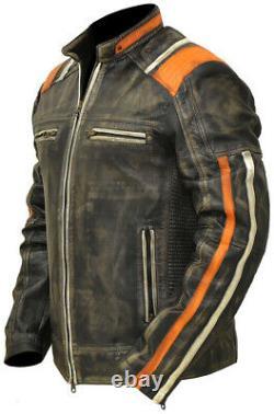 Harley Davidson Vintage Motorcycle leather Jacket Distressed Leather Jacket
