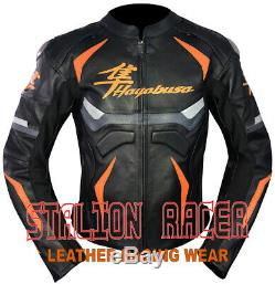 Hayabusa Motogp Motorbike / Motorcycle Cowhide Leather Jacket