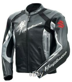Hayabusa Motorbike Racing Motorcycles Cowhide Leather Jacket, CE Approved padding