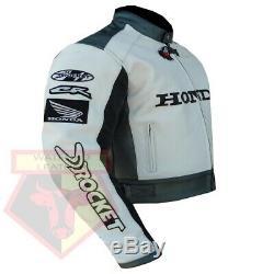 Honda 5523 White Motorbike Motorcycle Genuine Cowhide Leather Ce Armoured Jacket