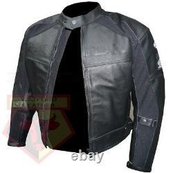 Honda 5524 Black Motorbike Motorcycle Bikers Cowhide Leather Armoured Jacket