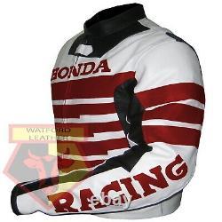Honda 9019 Red Motorbike Motorcycle Bikers Cowhide Leather Armoured Jacket