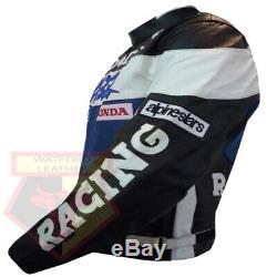 Honda Cbr Blue Motorbike Motorcycle Bikers Cowhide Leather Armoured Jacket