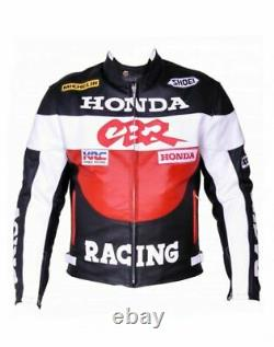 Honda Cbr Motorbike Original Cowhide Leather Jacket With CE Armour Protection