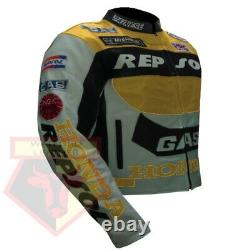 Honda Gas Repsol Yellow Motorbike Motorcycle Cowhide Leather Armoured Jacket