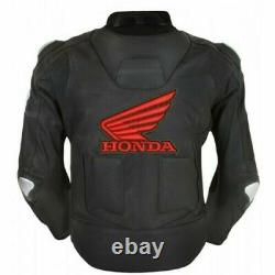Honda Motorbike Jacket Top Quality Cowhide Leather with 5 Inner CE Protections