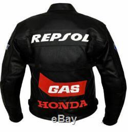 Honda Repsol Black Motorbike Cowhide Leather Motorcycle Leather Armour Jacket