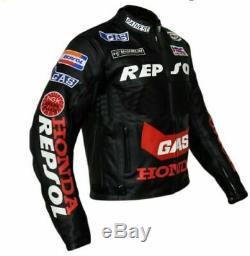 Honda Repsol GAS Motorcycle Cowhide Leather Street Racing Motorbike Jacket