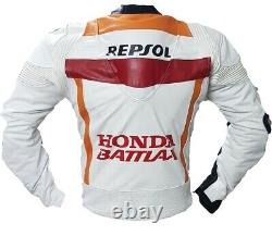 Honda Repsol Motorbike Leather Jacket In Pure Cowhide/5 Inside Ce Protections