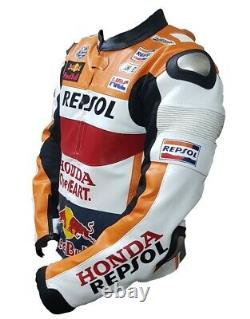 Honda Repsol Motorbike Original Cowhide Leather Jacket With CE Armour Protection