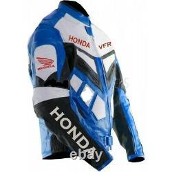 Honda VFR Motorcycle Racing Motor Bike Leather Jacket, CE Approved Padding